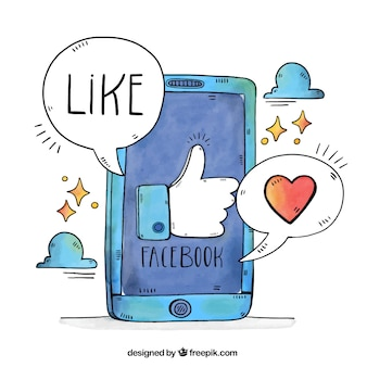 Facebook fond avec des bulles de téléphonie mobile et de la parole