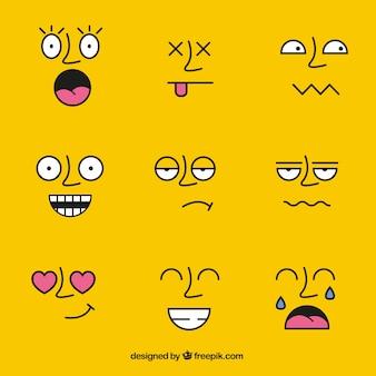 Faces avec différents expressions