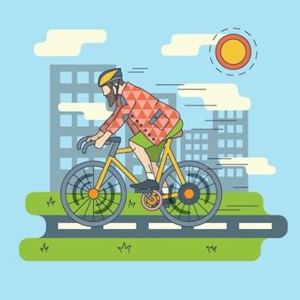Faire du vélo dans la ville illustration plat