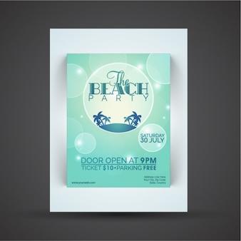 Fantastique affiche beach party avec effet bokeh