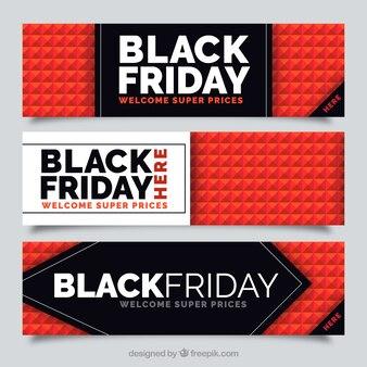 Fantastique sélection de noir bannières vendredi avec un fond géométrique