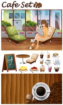 Femme qui traine dans l'illustration du café