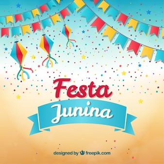 Festa de l'arrière-plan avec des guirlandes et confettis