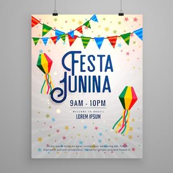 Festa junina célébration fête invitation modèle bannière