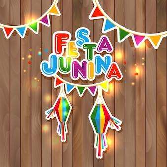 Festa Junina illustration sur bois