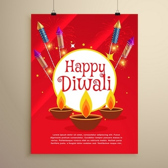 Festival de Diwali heureux conception carte de voeux de modèle d'invitation