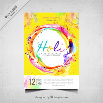 Festival de Holi brochure colorée