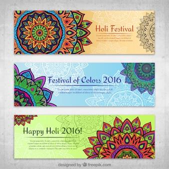Festival de Holi mandalas bannières