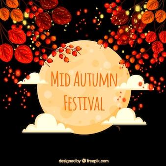 Festival de l'automne moyen, scène avec pleine lune et fleurs