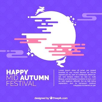 Festival moyen de l'automne, arrière-plan violet