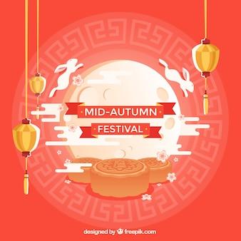 Festival moyen de l'automne, fond rouge