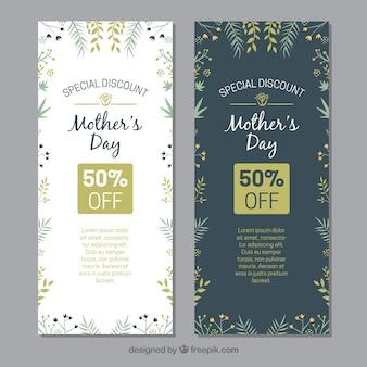 Fête des mères bannières florales avec des remises