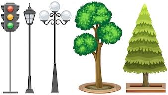 Feu de signalisation et arbres dans le parc