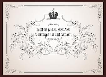 Feuille baroque cadre tourbillon classique
