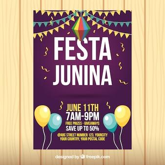 Feuillet de fête junina avec des ballons