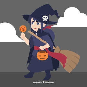 Fille déguisée en sorcière pour Halloween