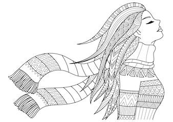 Fille dessiné à la main portant des vêtements d'hiver