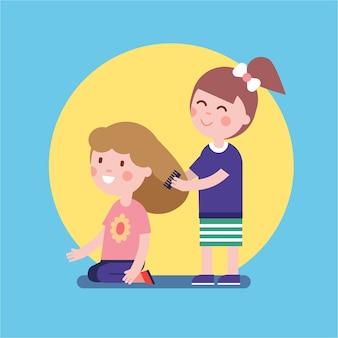 Filles jouant au salon de coiffure