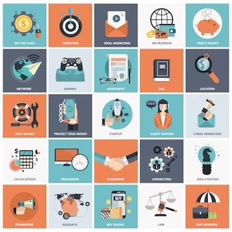 Flat icon set pour les affaires