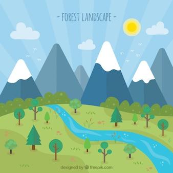 Flat paysage forestier au printemps