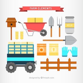 Flat utile collection d'objets de la ferme