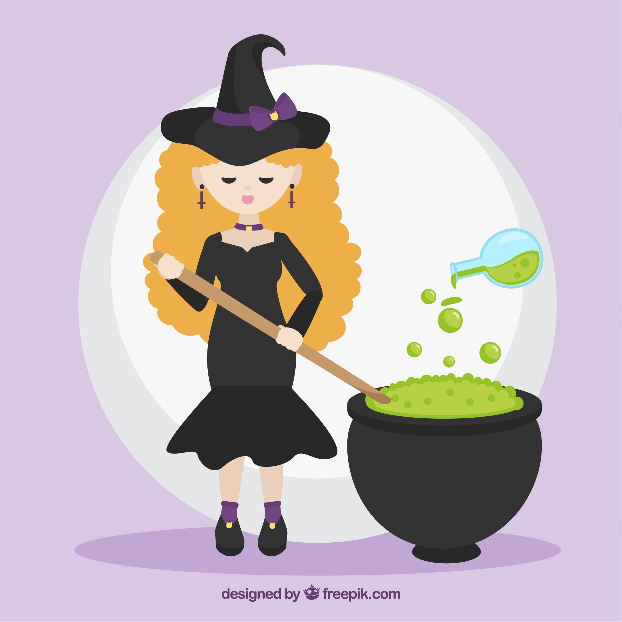 Flat witch cooking a potion