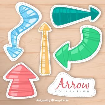 Flèches dessiné à la main avec un style amusant