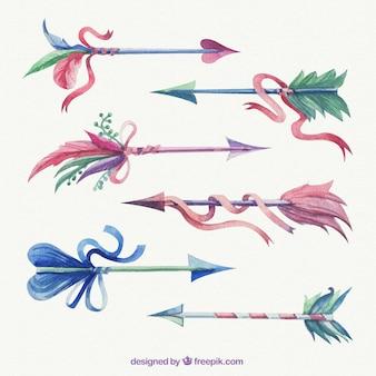 Flèches peintes à la main avec des rubans