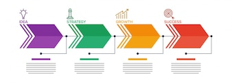 Flèches temporelles du concept de l'entreprise avec 4 étapes.