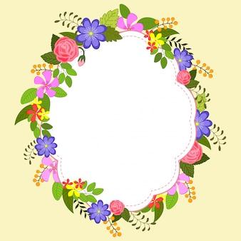 Fleurs colorées décorées design de cadre élégant