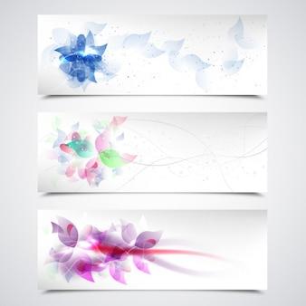Fleurs élégantes bannières Pack