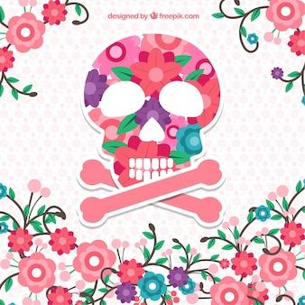 Fleurs fond avec le crâne