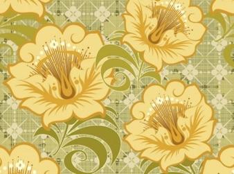 Fleurs vintage de couleur jaune vert, modèle, fond