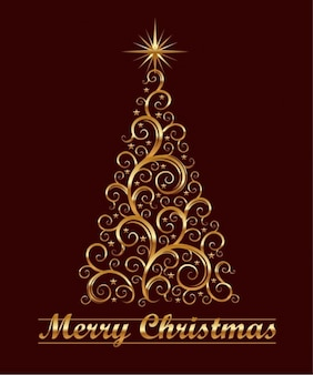 floral abstrait tourbillon arbre de Noël graphique vectoriel