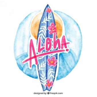 Floral background de planche de surf dans effet d'aquarelle