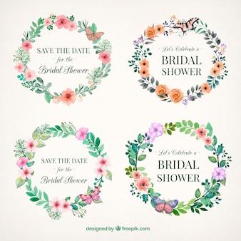 Floral cadres nuptiales de douche peintes à l'aquarelle