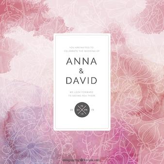 Floral carte de mariage dans le style abstrait