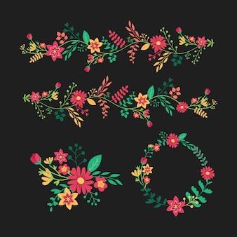 Floral coloré avec collection de feuilles et de fleurs