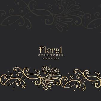 Floral élégant d'or sur fond sombre