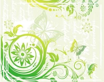 floral vert et illustration vectorielle papillons