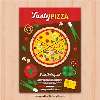 Flyer à pizza colorée et savoureuse
