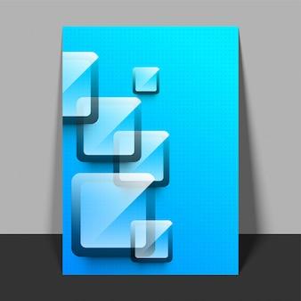 Flyer à pointes bleues avec des carrés.