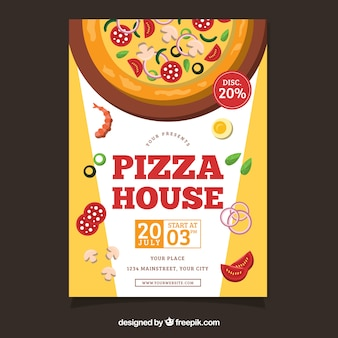 Flyer aux ingrédients de pizza