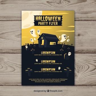 Flyer de fête de Halloween avec des fantômes