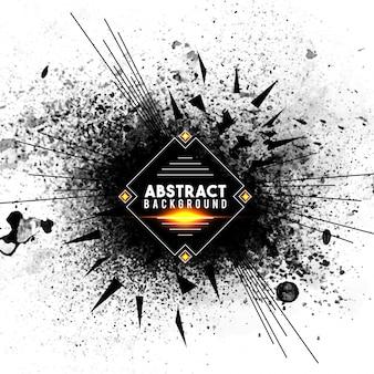 Fond abstrait avec éclaboussures noires et lignes radiales, éclatement créatif ou effet d'explosion.