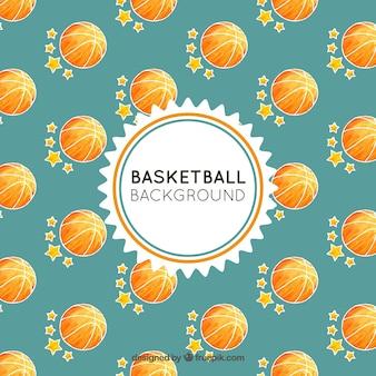 Fond balle de basket-ball avec des étoiles dessinées à la main
