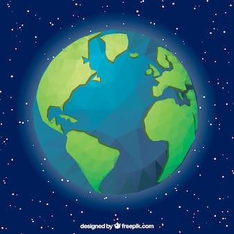Fond bleu avec globe terrestre géométrique