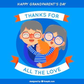 Fond bleu de grands-parents heureux embrassant leur petit-fils