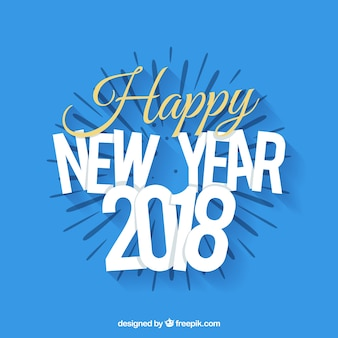 Fond bleu de la bonne année 2018