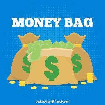 Fond bleu de sacs avec des billets et des pièces de monnaie
